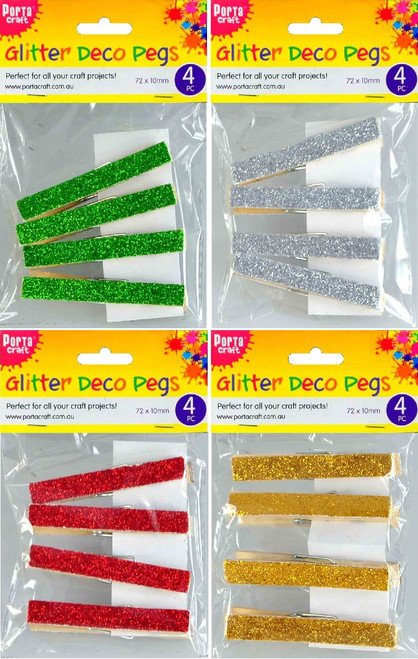 Clothes Pegs 72x10mm Xmas Glitter 4 Pack (Random) (Product # 122075)