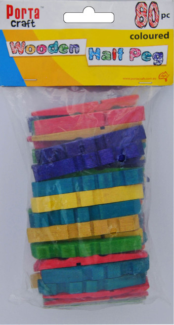 Clothes Pegs Half 80 Pack Coloured (Product # 067772)