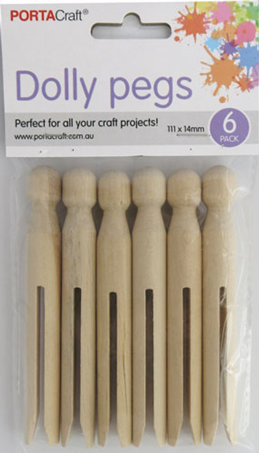 Dolly Pegs 111x14mm 6 Pack Natural (Product # 075845)