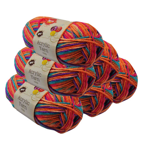 Rainbow Acryl Yarn 100gm 189m 8ply Fruit Loops (Product # 152430)
