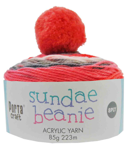 Sundae Beanie Acryl Yarn 85g 8ply Strawberry Pie (Product # 152355)