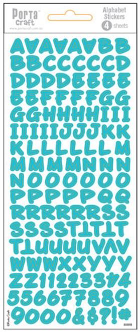 Alpha Stickers Fun Aqua 4 Sheets (Product # 135518)