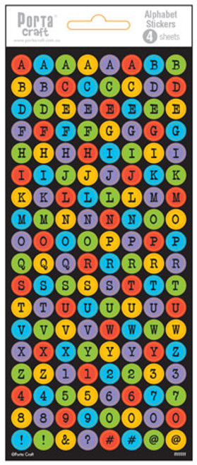 Alpha Stickers Buttons Multi Colour 4 Sheets (Product # 135525)