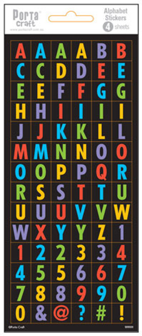 Alpha Stickers Block Multi Colour 4 Sheets (Product # 135624)