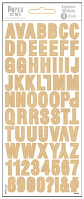 Alpha Stickers Kraft Paper 4 Sheets (Product # 135693)