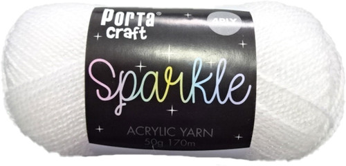 Sparkle Acryl Yarn 50g 170m True White (Product # 163191)