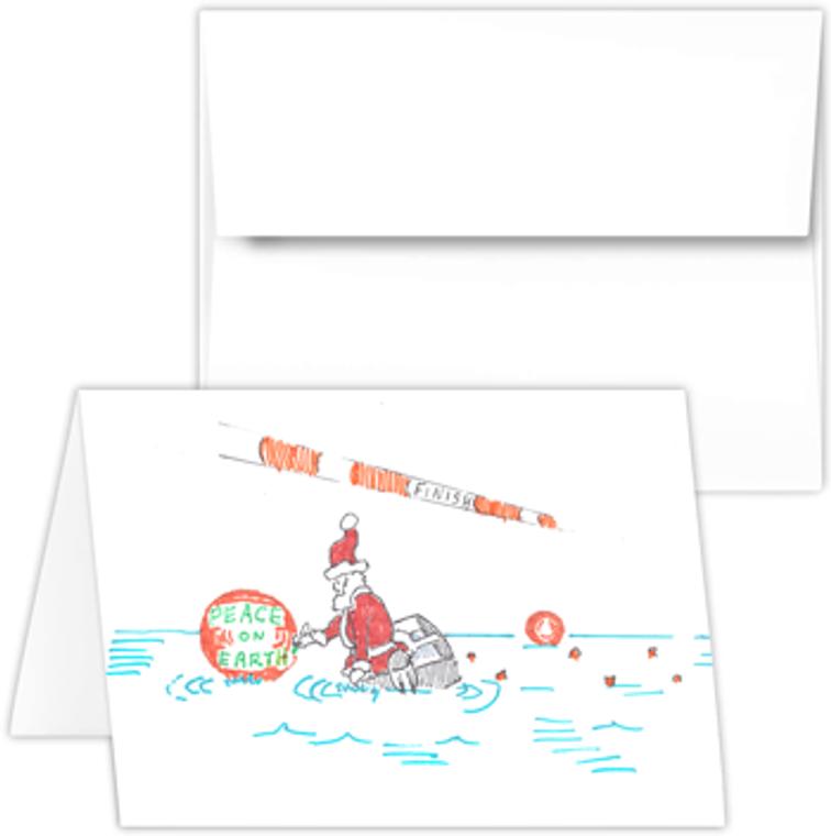 Greeting Card - santa with buoy, rowing Santa PEP cartoon