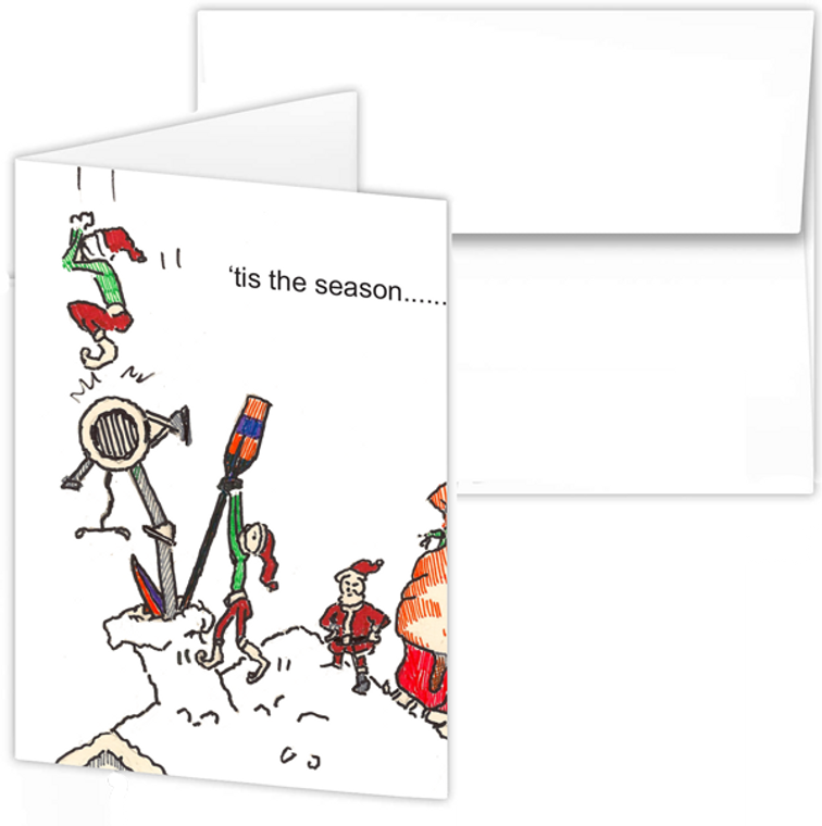 Greeting Card - santa with erg, rowing Santa PEP cartoon