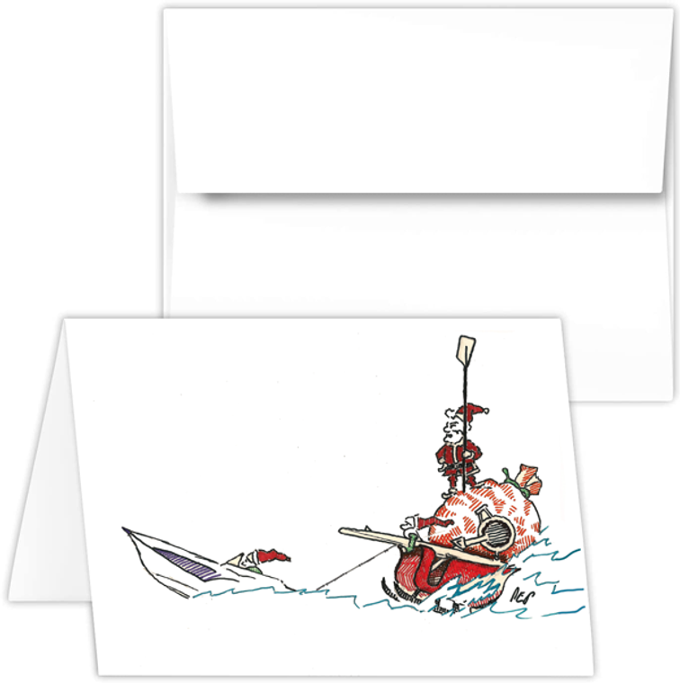 Greeting Card - santa with motorboat, rowing Santa PEP cartoon