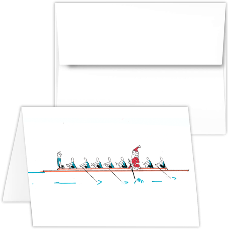 Greeting Card - santa in 3 seat, rowing Santa PEP cartoon