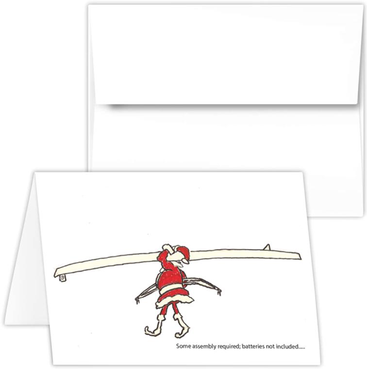 Greeting Card - santa with single, rowing Santa PEP cartoon