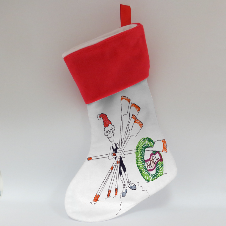 Stocking - Rowing Elf with Oars and wreath