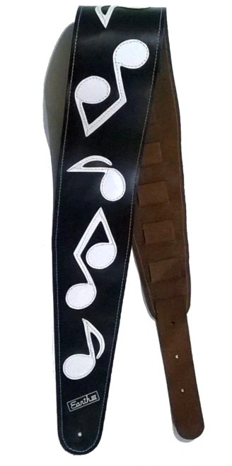 Pre-Order The Authentic Stevie Ray Vaughan Black and White Musical Note Guitar Strap.