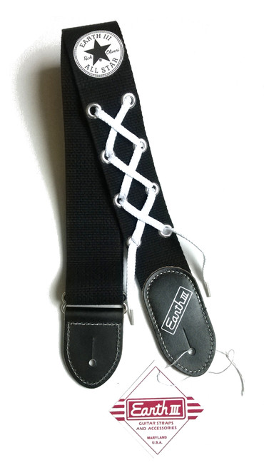Earth III All Star Black Cotton and Leather Guitar Strap! Available Again Soon!