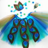 Felt Feather Peacock Tutu with matching Headband