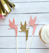 Tinkerbell Cupcake Toppers - Pink and Gold
