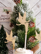 Gold Glitter Tinkerbell Cupcake Toppers