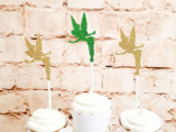 Emerald Green and Gold Fairy Cupcake Toppers