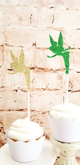 Double Sided Emerald Green and Gold Fairy Cupcake Toppers