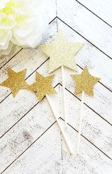 Silver Twinkle Little Star Cupcake Toppers
