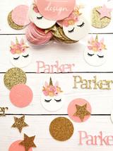 Personalized Pink and Gold Unicorn Confetti