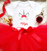 Personalized Christmas Unicorn Onesie Set | Silver & Red