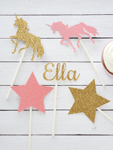 Personalized Unicorn Birthday Party Centerpiece Set in Pink and Gold
