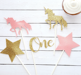 First Birthday Unicorn Centerpiece Set in Pink and Gold