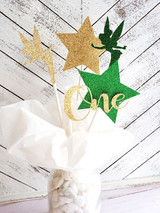 Tinkerbell First Birthday Party Centerpiece in Green and Gold