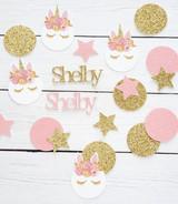 Personalized Pink and Gold Lashed Unicorn Confetti