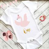 First Birthday Swan Baby Bodysuit