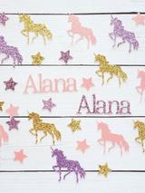 Personalized Unicorn Birthday Confetti in Pastel Colors
