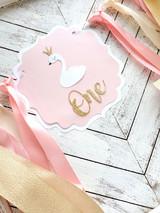 1st  Birthday Swan Princess High Chair Banner