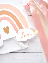 Personalized Pink Rainbow Ribbon Banner