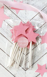 Pink and Gold Twinkle Little Star Cupcake Toppers