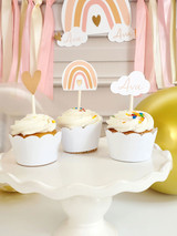 Personalized Boho Pink Rainbow Cupcake Toppers