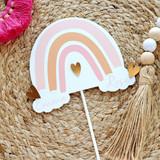 Personalized Boho Pink Rainbow Cake Topper