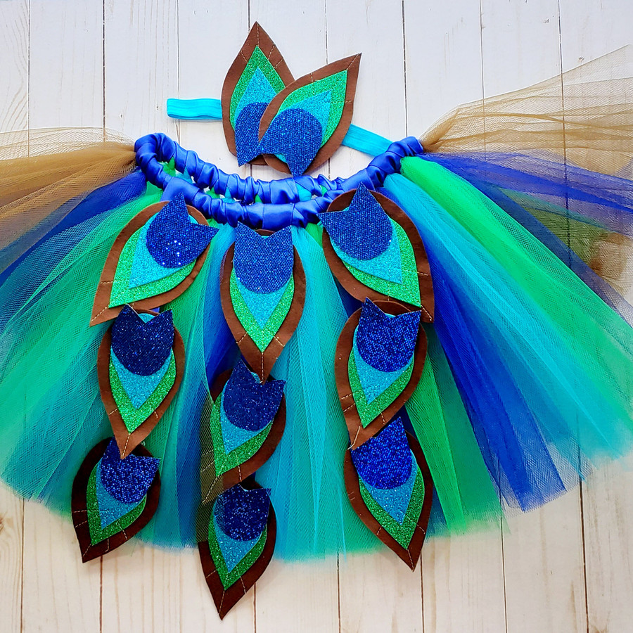 Sparkly Feather Peacock Tutu with matching Headband