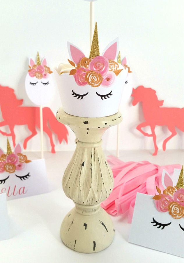 Pink and Gold Unicorn Cupcake Wrappers