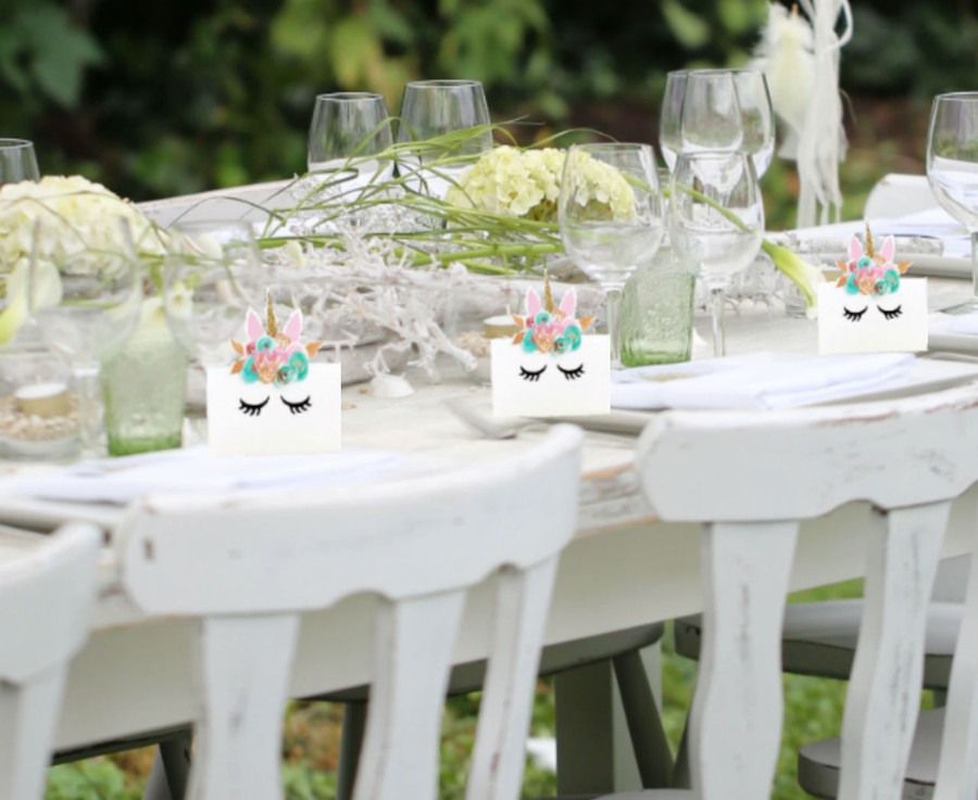 Mint and Gold Unicorn Place Cards