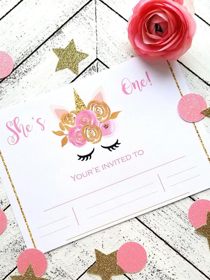 Pink and Gold 1st Unicorn Birthday Invitation