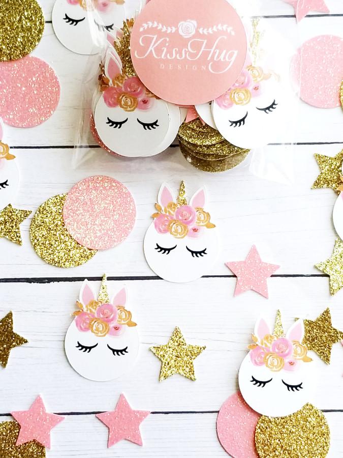 Pink and Gold Unicorn Confetti