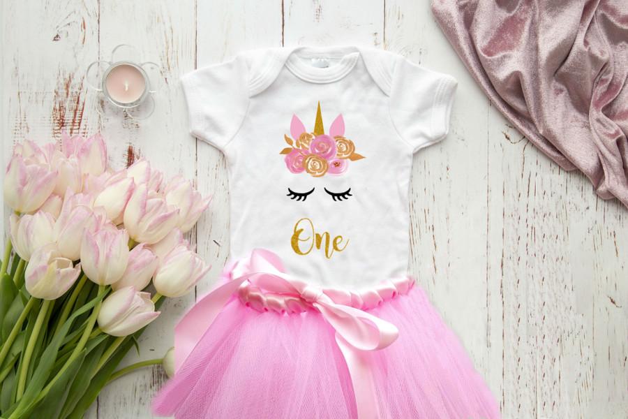 Unicorn 1st Birthday Onesie Set