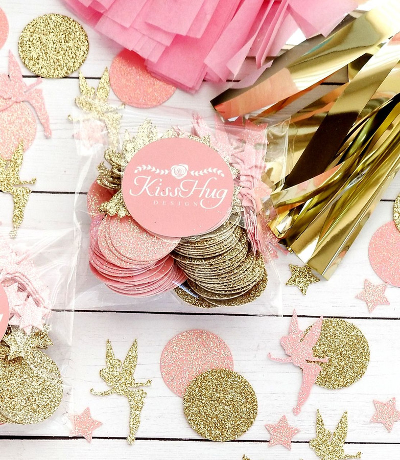 Pink and Gold Fairy Confetti