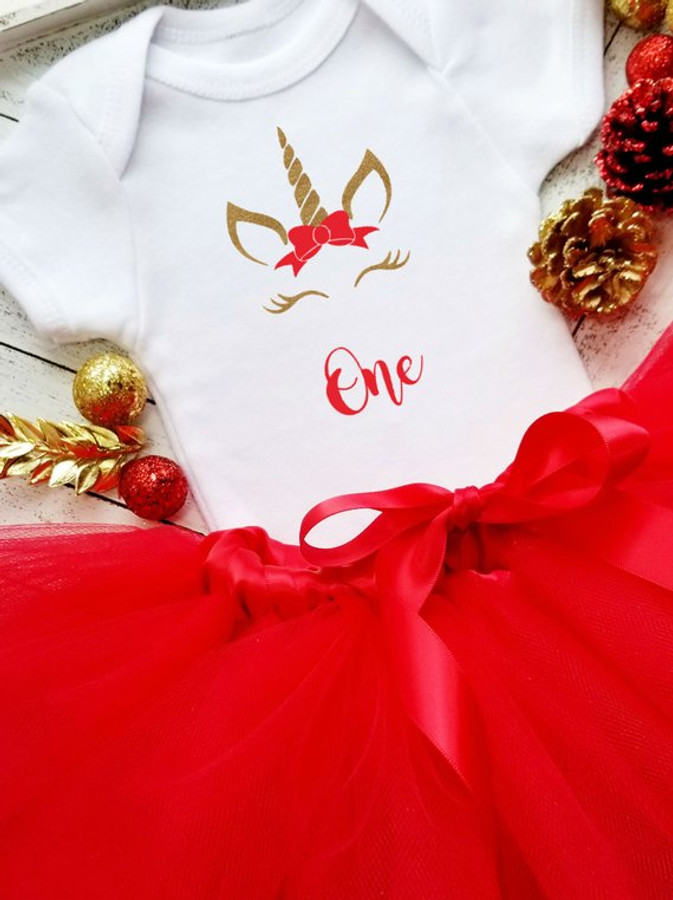 Christmas Unicorn 1st Birthday Onesie Set | Gold & Red