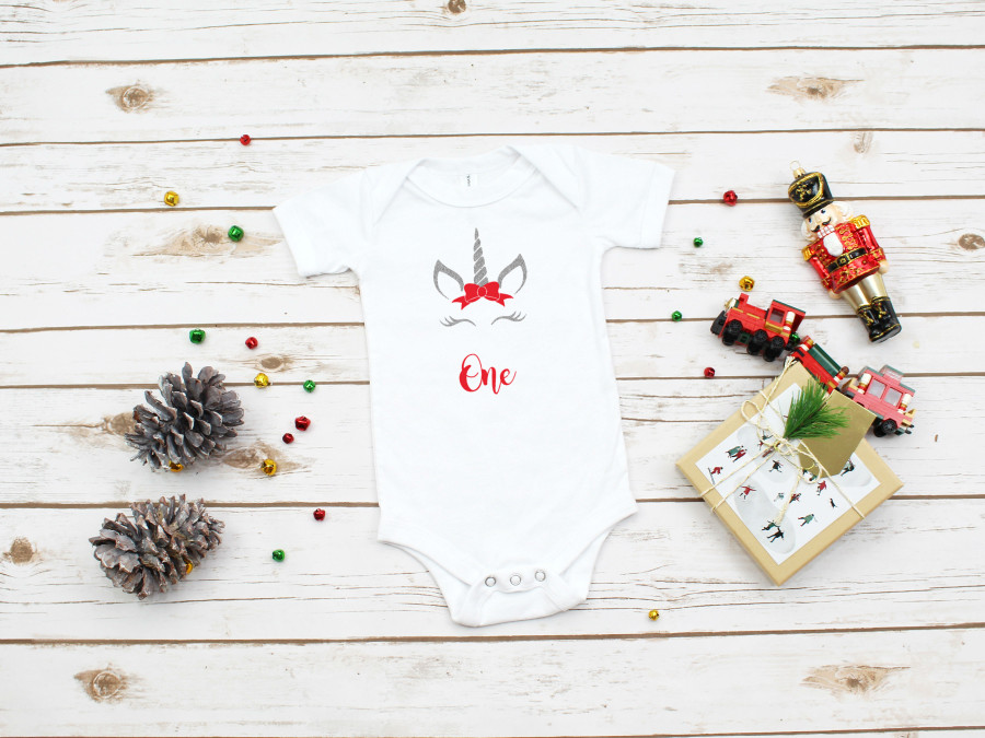 Unicorn 1st Birthday Christmas Onesie Set | Silver & Red