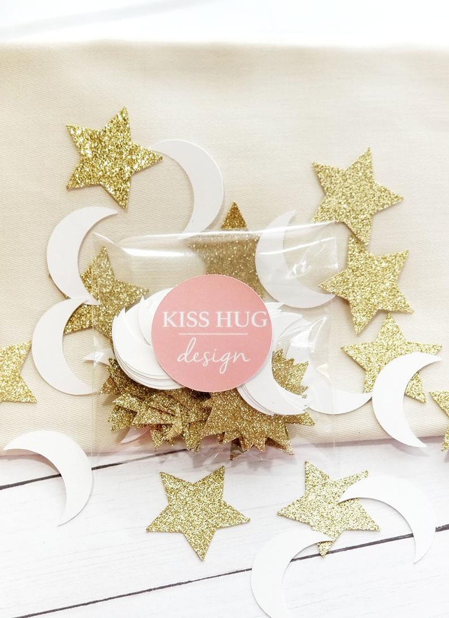 Gold Twinkle Little Star and White Moon Confetti