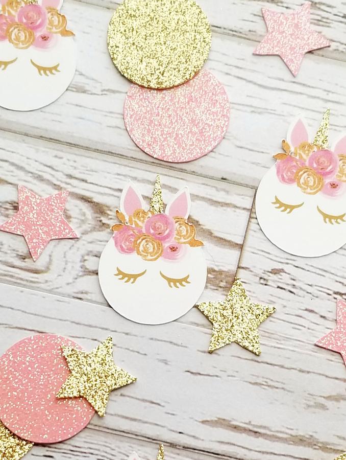 Pink and Gold Lash Unicorn Confetti