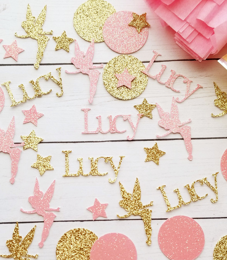 Personalized Pink and Gold Fairy Confetti