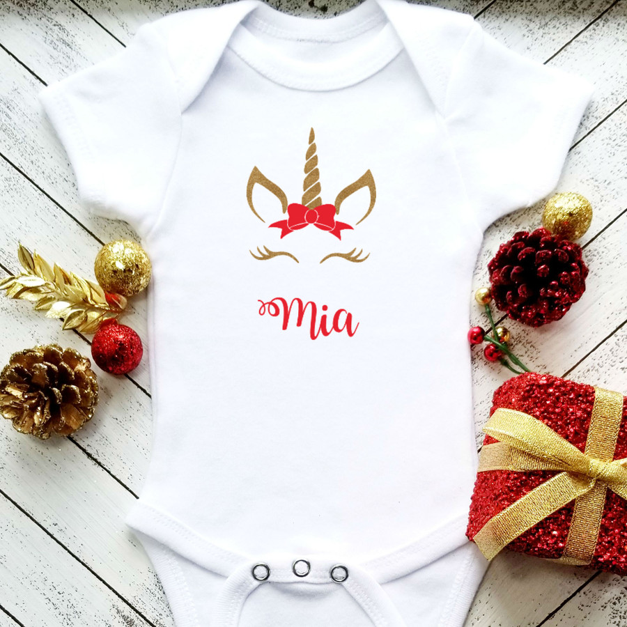 Personalized Christmas Unicorn Onesie Set | Gold & Red
